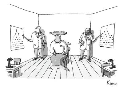 A Hammerhead Shark Gets His Eyesight Check By Two Art Print by Zachary Kanin