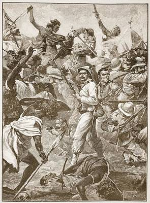 Sudan Drawing - A Handful Of Bersaglieri Holding An by Alfred Pearse