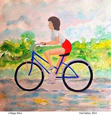 Two Wheeler Mixed Media - A Happy Biker by Fred Jinkins