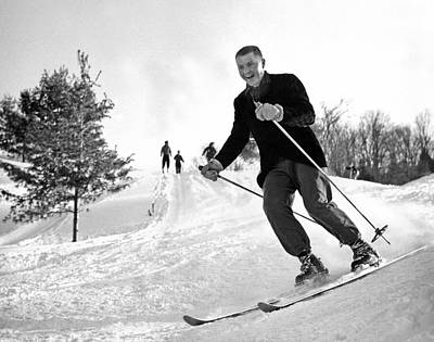 Ski Photograph - A Happy Skier In Vermont by Underwood Archives