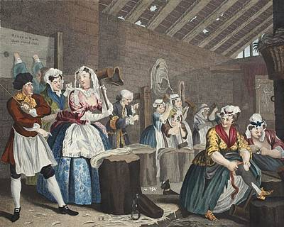 Prostitution Drawing - A Harlots Progress, Plate Lv Scene by William Hogarth