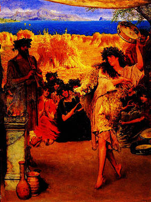 A Harvest Festival 2f A Dancing Bacchante At Harvest Time By Sir Lawrence Alma Tadema Art Print by MotionAge Designs