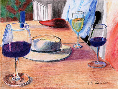 A Hat And Wine Art Print