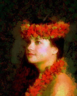 Acrylic Necklace Painting - A Hawaian Princess by Mario Carini