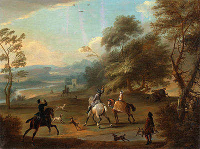Wyck Painting - A Hawking Party, Jan Wyck by Litz Collection