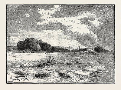 A Hayfield At Marlow Print by English School