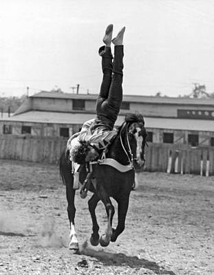 Daring Photograph - A Head Stand On Horseback by -