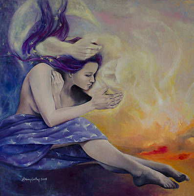 Nude Fairy Painting - A Heaven For Two by Dorina  Costras