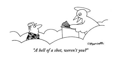 St Drawing - A Hell Of A Shot by Charles Barsotti