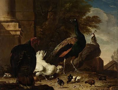 Melchior Painting - A Hen With Peacocks And A Turkey, Melchior D Hondecoeter by Quint Lox