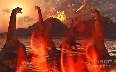 Destruction Digital Art - A Herd Of Dinosaurs Struggle by Mark Stevenson