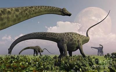 Triassic Digital Art - A Herd Of Diplodocus Sauropod Dinosaurs by Mark Stevenson