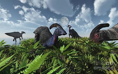 Parasaurolophus Digital Art - A Herd Of Herbivorous Parasaurolophus by Mark Stevenson