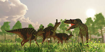 Photograph - A Herd Of Lambeosaurus Dinosaurs by Corey Ford