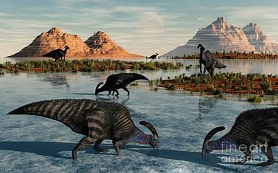 Parasaurolophus Digital Art - A Herd Of Parasaurolophus Duckbill by Mark Stevenson