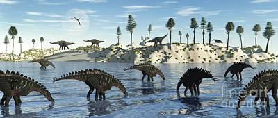 Triassic Digital Art - A Herd Of Stegosaurid Miragaia by Mark Stevenson