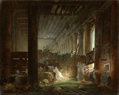 Painting - A Hermit Praying In The Ruins Of A Roman Temple by Hubert Robert