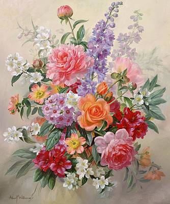 Pinks And Purple Petals Painting - A High Summer Bouquet by Albert Williams