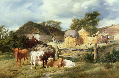 Livestock Painting - A Highland Croft, 1873 by Peter Graham