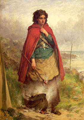 Gipsy Photograph - A Highland Gypsy, 1870 Oil On Canvas by Thomas Faed