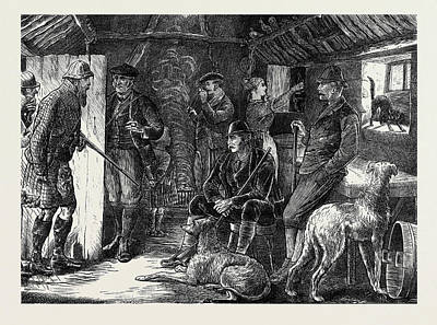 Storm Drawing - A Highland Shelter In A Storm by English School