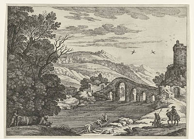 Cattle Dog Drawing - A Hilly Landscape Is Crossed By A River, Over The River by Willem Van Nieulandt (ii)