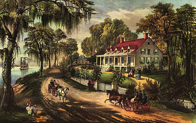 Horse And Buggy Digital Art - A Home On The Mississippi by Currier and Ives