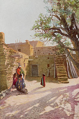 Grand Canyon Drawing - A Hopi Pueblo Of The Early  19th by Mary Evans Picture Library