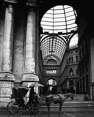 Exterior Photograph - A Horse And Cart By The Galleria Umberto by Robert Randall