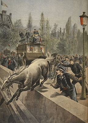 A Horse Committing Suicide Art Print