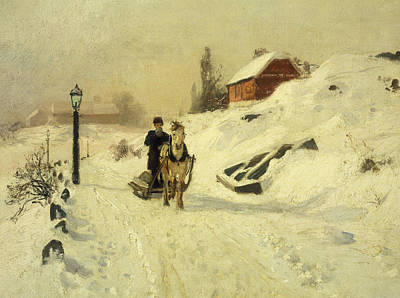 Horse-drawn Painting - A Horse Drawn Sleigh In A Winter Landscape by Fritz Thaulow