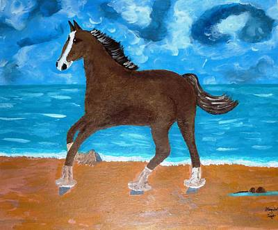 Art Print featuring the painting A Horse On The Beach by Magdalena Frohnsdorff