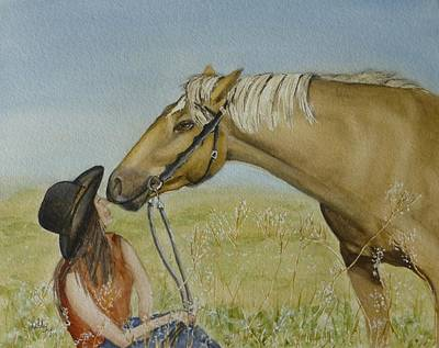 Painting - A Horses Gentle Touch by Kelly Mills