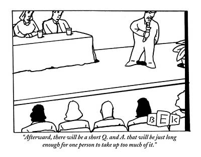 Speech Drawing - A Host Speaks To An Audience. Two Panelists Sit by Bruce Eric Kaplan