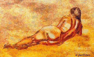 Nudes Mixed Media - A Hot Afternoon by Dragica  Micki Fortuna