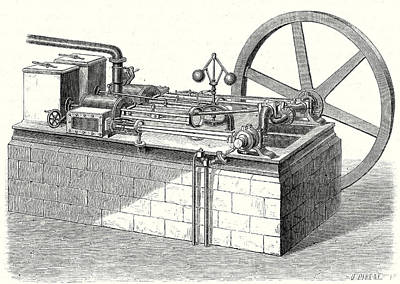 Cylinders Drawing - A Hot-air Cylinder Machine With Horizontal Engines by English School