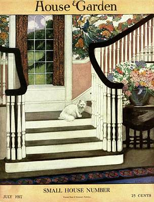 Fashion Photograph - A House And Garden Cover Of A Cat On A Staircase by Ethel Franklin Betts Baines