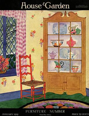 Floral Vintage Window Photograph - A House And Garden Cover Of A Chair By A Cabinet by Helen Dryden
