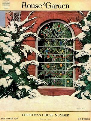 Winter Photograph - A House And Garden Cover Of A Christmas Tree by Ethel Franklin Betts Baines
