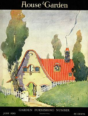 Gate Watercolor Photograph - A House And Garden Cover Of A Cottage by Maurice Day