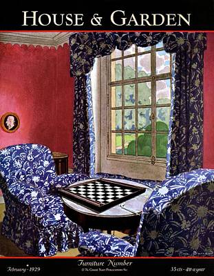 Cameo Photograph - A House And Garden Cover Of A Country Living Room by Pierre Brissaud