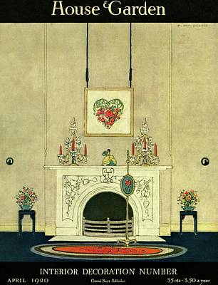 A House And Garden Cover Of A Fireplace Art Print by H. George Brandt