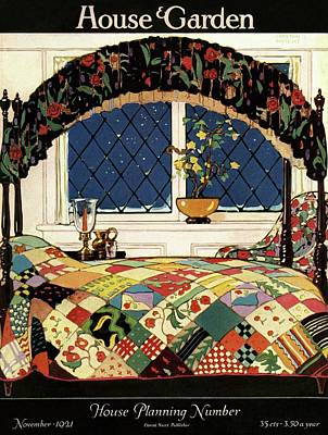 A House And Garden Cover Of A Four-poster Bed Art Print by Clayton Knight