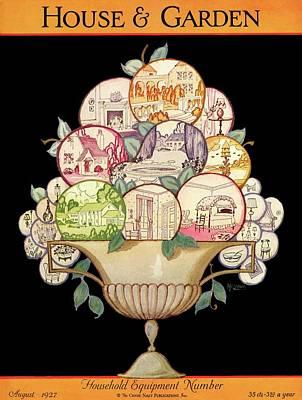 A House And Garden Cover Of A Fruit Bowl Art Print by Robert McQuinn