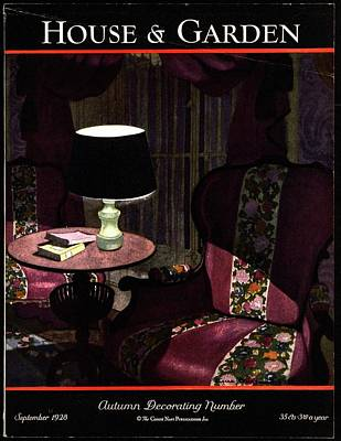 Lamp Photograph - A House And Garden Cover Of A Lamp By An Armchair by Pierre Brissaud