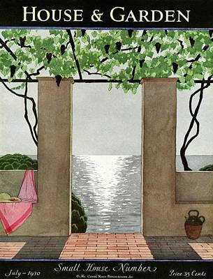 A House And Garden Cover Of A Seaside Patio Art Print by Andre E.  Marty