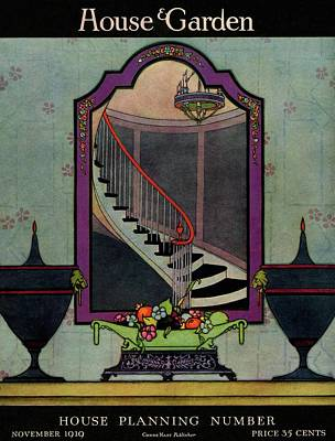 Chandeliers Photograph - A House And Garden Cover Of A Staircase by Harry Richardson