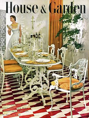 Tableware Photograph - A House And Garden Cover Of A Woman In A Dining by Horst P. Horst