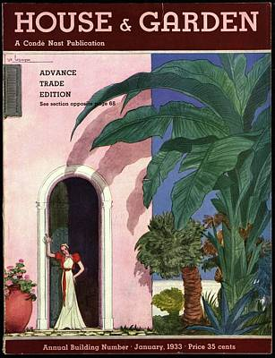 Pink Photograph - A House And Garden Cover Of A Woman In A Doorway by Georges Lepape