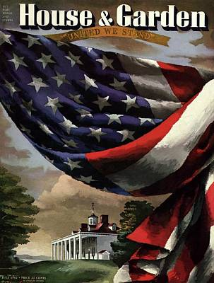A House And Garden Cover Of An American Flag Art Print